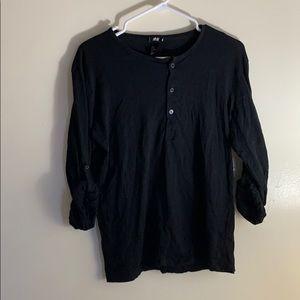H&M Men's Black Long Sleeve Henley